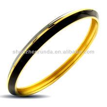 Black Charming Gold Plated Jewelry Enamel Bangle Bracelet Vners