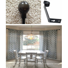 Bay Drapery Window Curtain Rods With Iron Ball Finial In The Dinning Room