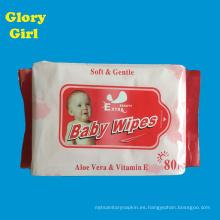 Alta calidad cuidado personal algodón suave libre femenino 80 por bolsa toallitas húmedas