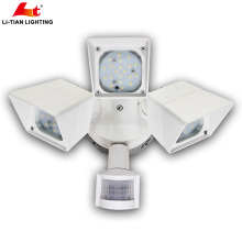 China Supplier Tri Head Wall Mounted Ul Listed Security Motion Sensor Led Flood Light