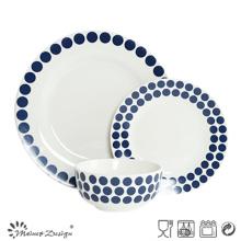 Juego de cena de cerámica de 18 piezas con diseño de etiqueta de puntos azules