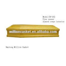Régimes privés du cercueil en bois personnalisé plaqué pin DH-202