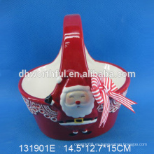 Regalo de cerámica de la cesta de la Navidad de la venta al por mayor de la calidad excelente con la pintura sonriente de santa
