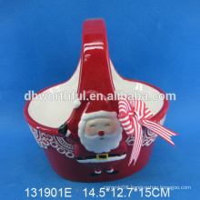 Excellent quality wholesale ceramic christmas basket gift with smiling santa painting