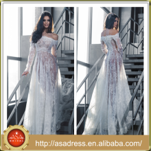 LB22 Latest Sexy See Through Design Tulle Lace Applique Off the Shoulder Long Sleeve Sheath Wedding Dress Bohemian