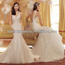WD4222 V escote chiffon rizado corpiño en la cintura cubierta de encaje de cuentas de flores rociadas en tulle falda vestido de novia de sirena