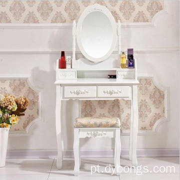 Vanity White golden black 4 drawers dressing table with mirror