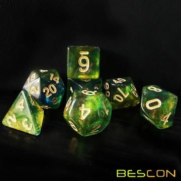 Bescon New Moonstone Dice Azure Stone, Polyhedral Dice Set of 7