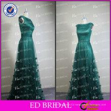 ED Bridal Elegant Real Picture Deep Green Scoop Neck Cap Sleeve Beaded Long Evening Dress 2017