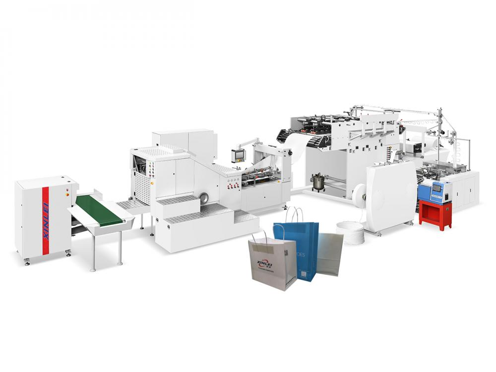 Fully Automatic Square Bottom Paper Bag Machine With Handle Inline