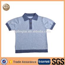 Jolie chemise en laine mérinos tricotée bleu clair
