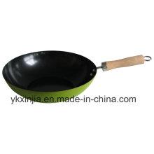 Utensilios de cocina de acero al carbono verde antiadherente Cookware Wok