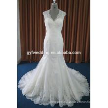 Imagem real Guangzhou Dress Factory V-Neck sem mangas Chuva com piso de comprimento Appliqued Vestidos Mermaid Backless Wedding Dresses 15003