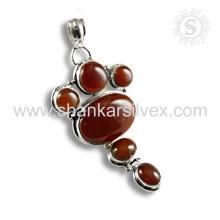 Nueva joyería de la piedra preciosa del diseño de la joyería de la plata esterlina del colgante 925 del ónix rojo