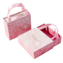 Custom luxury drawer boxes wedding gift candy packaging favor pink paper print marble box