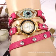 Corea personalizada correa de cuero pavo real ojo forma diamante damas reloj pulsera cuarzo relojes estudiante mesa al por mayor BWL019