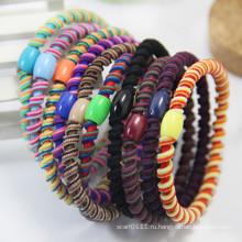 Леди Пластиковые мода из бисера спиральный эластичный резиновый резинки для волос (JE1584)