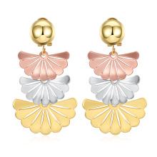 2017 New Design Gold Fan Shape Eardrop Earrings Fashion Jewelry