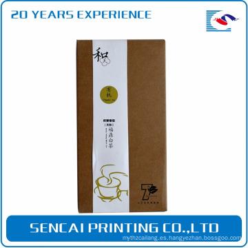 Caja de embalaje de papel de té marrón Kraft Sencai