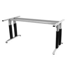 Marco de mesa de escritorio de oficina de plata con ruedas