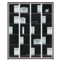 2015 new design wooden with glass and metal bookcase