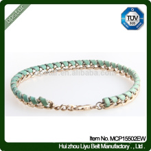 Bracelet en cuir tressé vert vert en dents