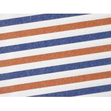Orange/Navy Streifen bequem Garn gefärbt Shirting Stoff