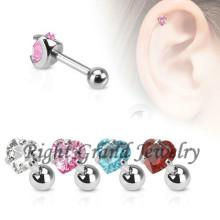 316L Surgical Steel Barbell Earring OEM Heart Zircon Cartilage Earring Tragus
