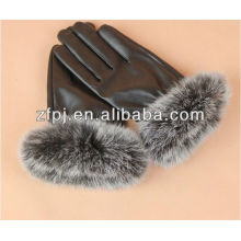 Fashion Damen Real Kaninchen Pelz, Fox Pelz Leder Handschuhe