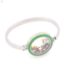 Высокое качество нержавеющей стали 316L эмаль зеленый плавающей медальон браслет