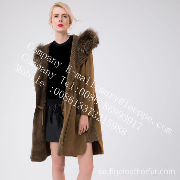 Kvinnor Medium Fur Hooded Overcoat In Winter