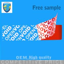 Kundenspezifisches Drucken Tamper Evident Security Label Typ mit hervorragender Funktion