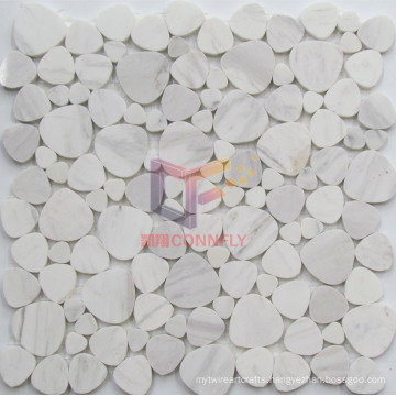 Cobble Shape White Natural Marble Mosaic (CFS1092)