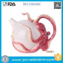 Great Gift Tetera de cerámica circular roja con forma de pulpo