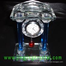 Belle horloge de table en verre cristal