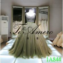 2016 personalizada vestido de novia de diamantes Perla Beading vestido de bola encaje hasta los vestidos de cuentas 1A844