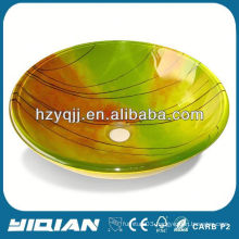 High Quality Tempered Glass Lavabo Colorful Basin