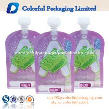 Fábrica ODM plástico ziplock saco líquido malote bico stand up pouch com bico de embalagem para água para suco
