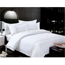 Hotel Use Plain Dyed Embroidery Bed Sheet Set or Duvet Cover Bedding Set
