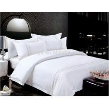 Uso do hotel Plain tingido bordado conjunto de folhas de cama ou edredon conjunto de cama