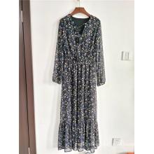 Ladies Floor-length Maxi Dress Floral Print Chiffon Dress
