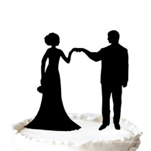 Bride and Groom Fist Bump Mr & Mrs Wedding Cake Topper