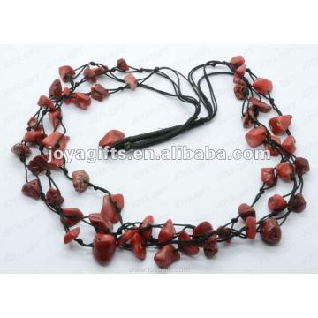 3Wire geknotet rote Koralle Chip Halskette