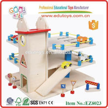 Top wooden parking toy