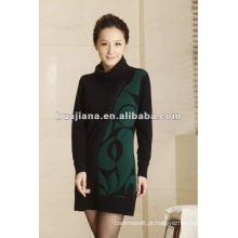 Vestido de inverno de cashmere elegante e feminino elegante