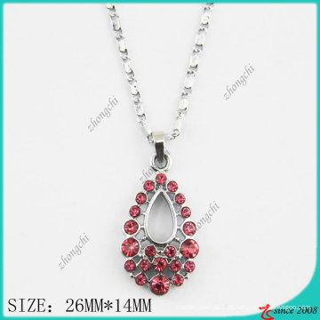 Rosa rosa cristais cair colar de moda (pn)