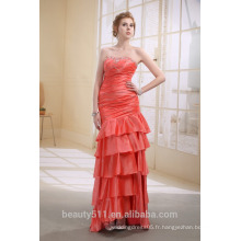 A-ligne bretelles asymétriques en dentelle / tulle avec robe drapée / dentelle Prom Promenade classique P7009