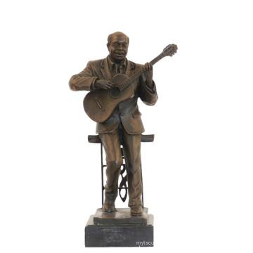 Musik Dekor Messing Statue Performer Carving Bronze Skulptur Tpy-749