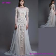 Späteste Art- und Weiseentwurfs-natürliche Farben-Spitze-lange Hülsen-Hochzeits-Kleid