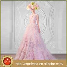 RK8 Heavy Handmade Ruffle Robe de soirée formelle avec nouvelle conception Beaded Bodice Cap Sleeve Robe de bal O-Neck Lilac Robes de bal